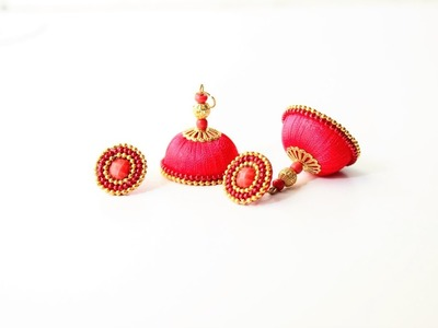 How to make Silk Thread Studded jhumkas.DIY Silk thread Jhumka with stud