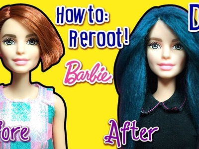 How to Reroot Barbie Doll Hair with Yarn - DIY Barbie Doll Hairstyles - Making Kids Toys