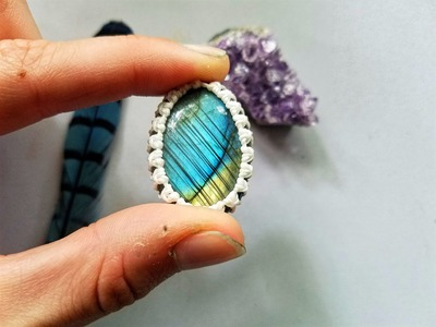 Macrame Tutorial-How to Wrap a Cabochon