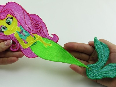 My Little Pony DIY Equestria Girls Fluttershy Mermaid Drawing with 3D PEN! Video for Kids