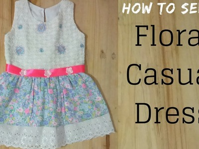 Sew Floral Casual Dress  for kids || How to make Floral Dress with pleated skirt