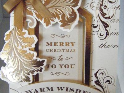 232.Cardmaking Mini Series Part3 Anna Griffin Festive Flips Christmas Gold Card