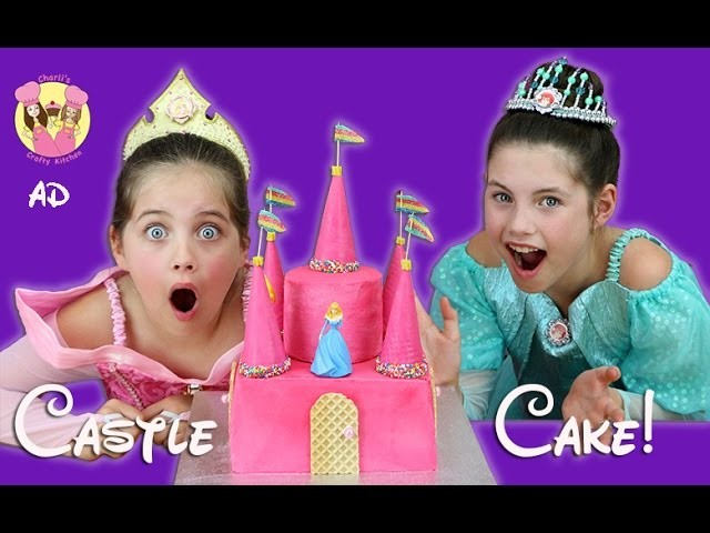 DISNEY PRINCESS CASTLE CAKE! Rainbow Surprise inside! Ariel, Sleeping Beauty, Snow White