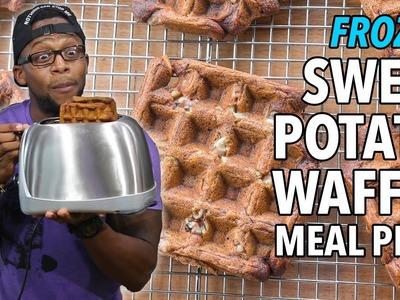 DIY Breakfast Frozen Sweet Potato Waffle Meal Prep. Gofres de Batata Congelados