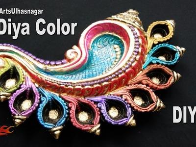 DIY Multicolour Shankh Terracotta Table Diya   | How to Color |  JK Arts 1098