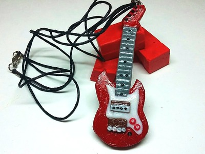 DIY Necklace Guitar |  Miniature - Polymer Clay Tutorial