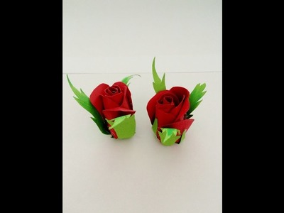 DIY Super easy way to make rose bud from paper-Tutorials
