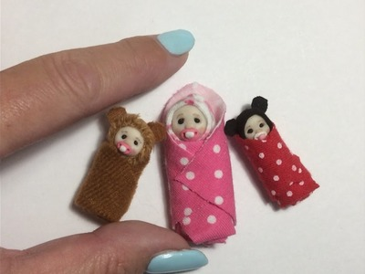 DOLL HOUSE DIY Miniature Bundle Baby Swaddled Tutorial 1.12th scale or BARBIE BABY