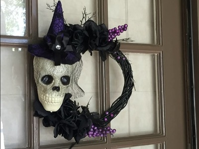 DOLLAR TREE DIY | Halloween Skull Wreath Tutorial | 2016