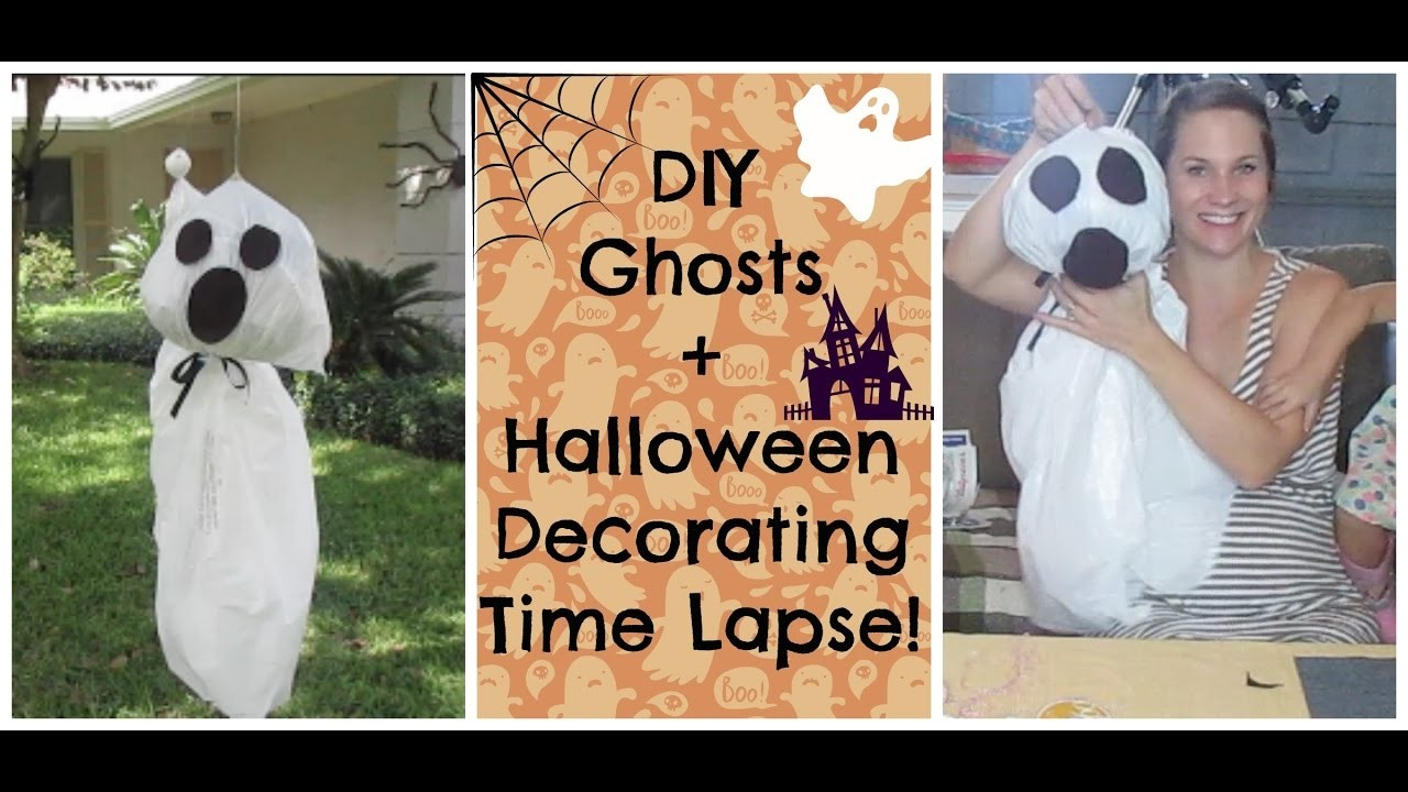 Halloween Decorating Time Lapse + DIY Hanging Ghosts!  Simple Craft!