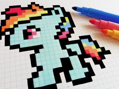 Handmade Pixel Art - How To Draw Little Pony - Rainbow Dash #pixelart