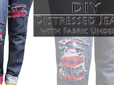 How to make Distressed jeans - DIY Distressed Jeans with fabric underlay (Hindi)