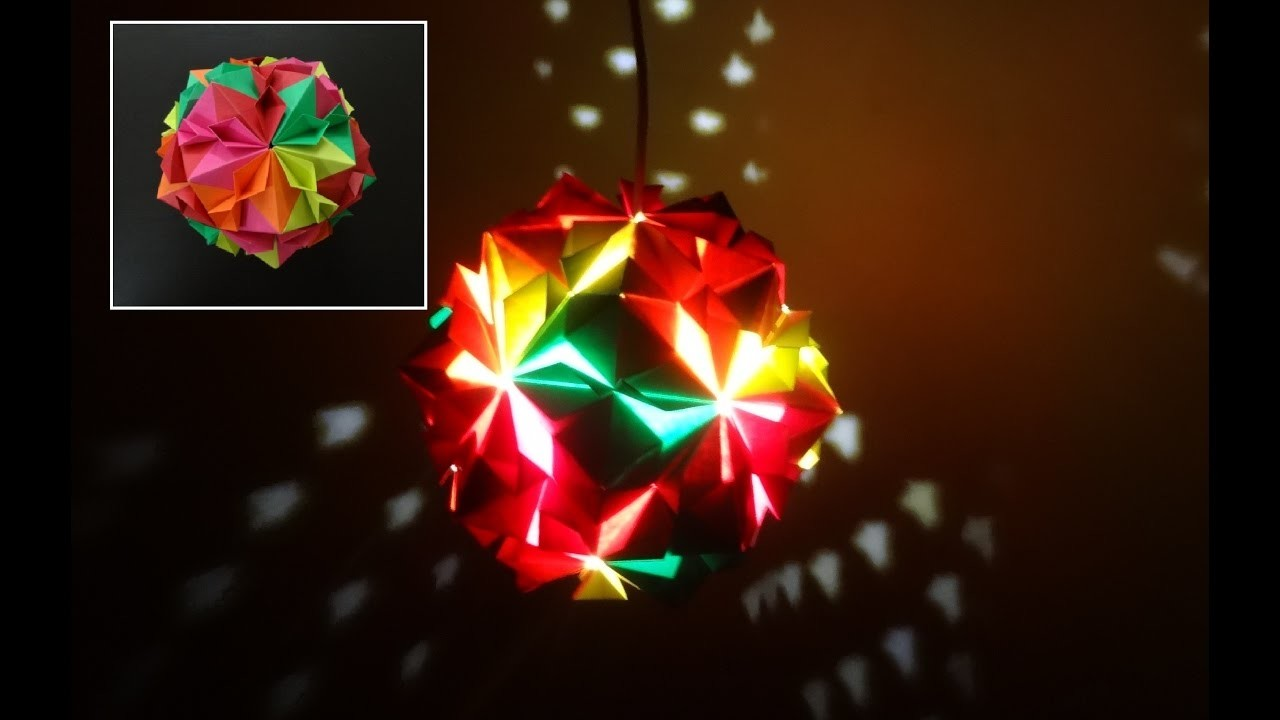 Paper Crafts (Home Decoration Ideas):Beautiful Multicoloured Origami Lantern: Christmas Decor