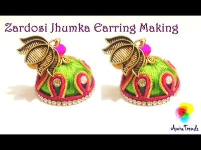 Zardosi Jhumka Earring Making 2 colour Easy DIY Tutorial