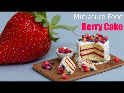 Miniature Berry Cake with Strawberries. Fimo Polymer Clay Cake