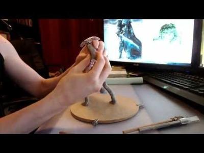 Polymer clay beginner tutorial - Alien Xenomorph part 2 - Adding clay, creating form