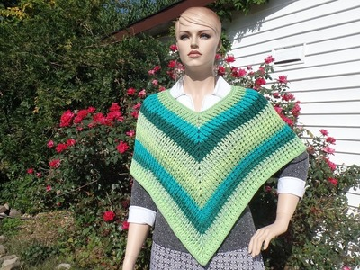 CROCHET How To #Crochet Easy Ribbed Adult Poncho #TUTORIAL #342