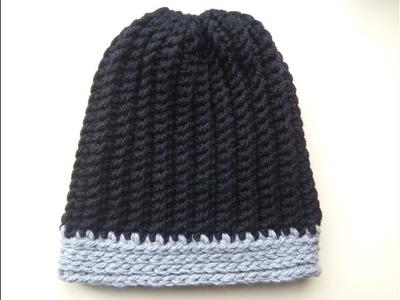 Crochet men's ribbed hat