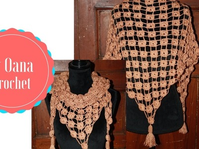 Crochet triangular scarf  by Oana