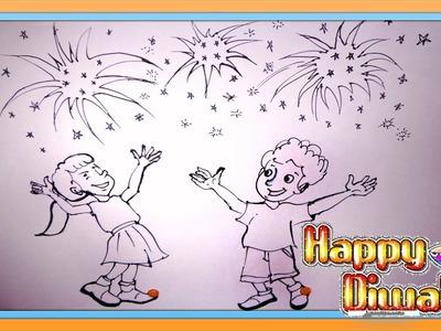 Diwali Scene Drawing | Diwali Rangoli Designs | Diwali Fireworks | How to Draw Fireworks 2016