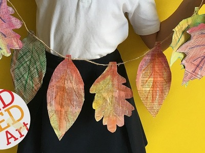 DIY Fall Room Decor - Art Project - Newspaper  Leaf Garland DIY