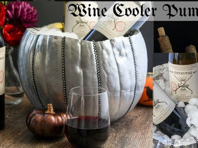 DIY Halloween Table Decor-Wine Cooler Pumpkin