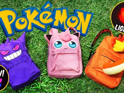 DIY Pokemon Backpack! FREE PATTERN | DIY School Supplies | Gengar, Jigglypuff, Charmander