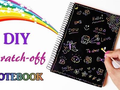 DIY Scratch-off Rainbow Notebook. Fun Diy School Supplies.Back to school