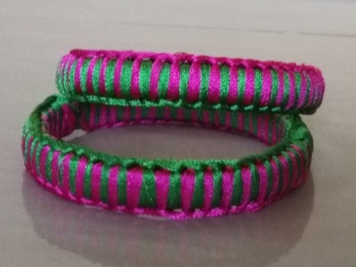 DIY weaving criss cross silk thread bangles