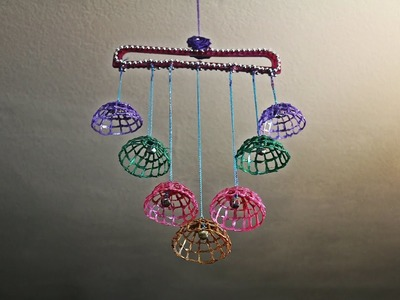 DIY Wind Chime.Wall Hanging with dress hanger and hot glue