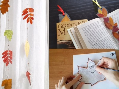 Easy Fall crafts with laminated leaves, Autumn DIY