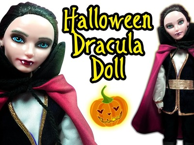 Halloween Dracula Doll - How To Make Halloween Costume and Makeup for Doll - DIY