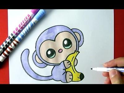 How to Draw a Cute Monkey  - Como Dibujar un Mono Kawaii