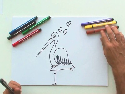 How to draw a stork (STABILO Tutorials, drawing beginners)
