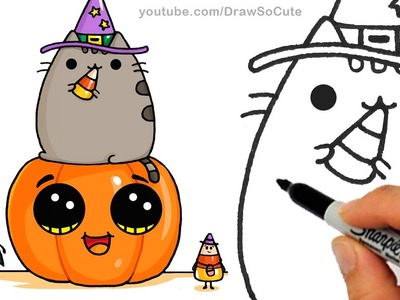 How to Draw Pusheen Cat on Pumpkin with Candy Corn step by step Easy -Halloween
