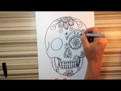 How to draw sugar skulls art tutorial