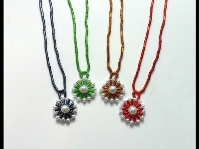 How to make a necklace with a pendant in less than 10 minutes. Beaded jewelry tutorial
