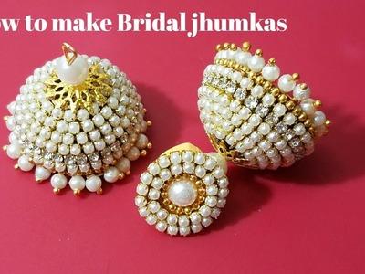 How to make Bridal jhumkas || Party wear jhumkas(Tutorial)