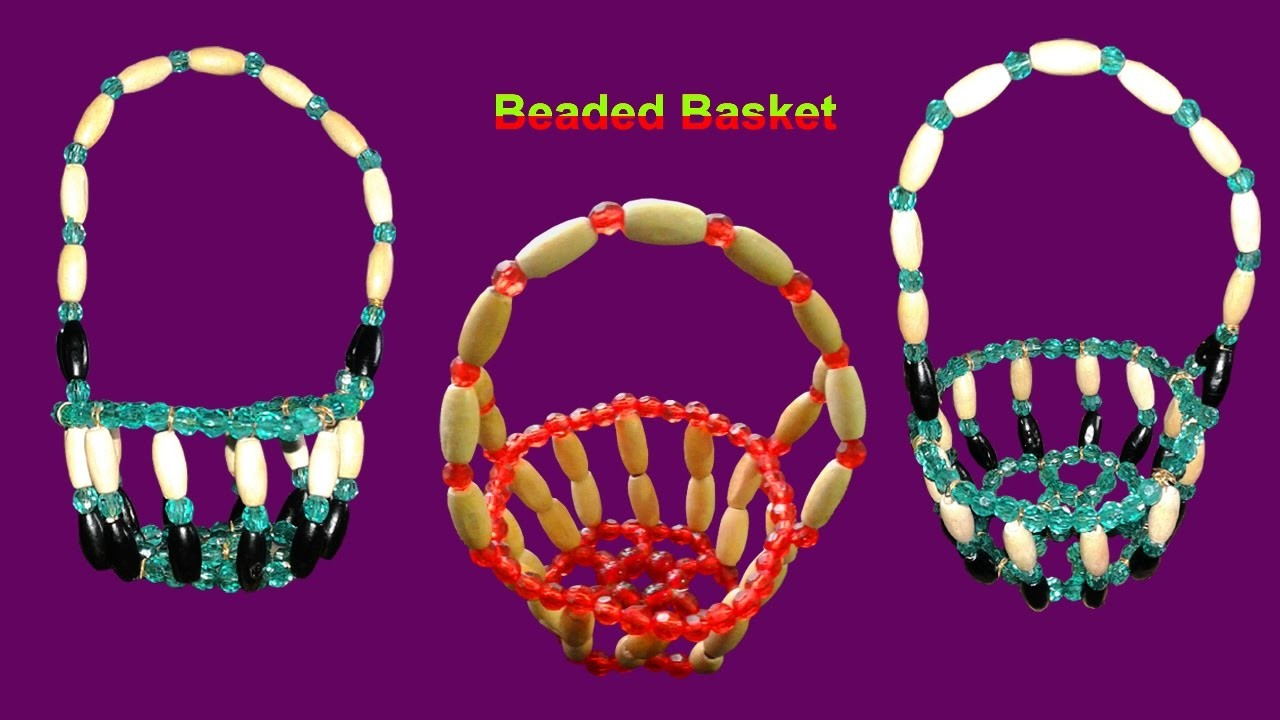 How To Make Crystal Beaded Basket With Wire At Home Simple And Easy   DIY Beaded Home Made Tutorials