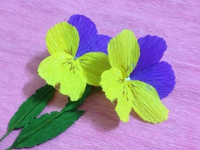 How to Make Pansy Crepe Paper flowers - Flower Making of Crepe Paper - Paper Flower Tutorial