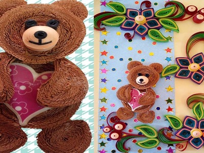 Paper Quilling | How to make Amazing Quilled christmas Greeting  Card with teddy bear