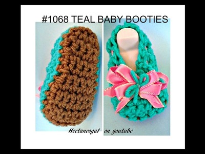 Teal  BABY BOOTIES, how to crochet booties, free pattern, video #1321, pattern # 1068