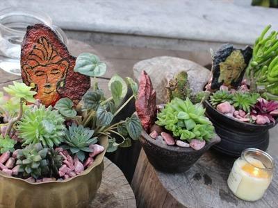Antique Bhuddha planters - DIY| garden decor |succulents