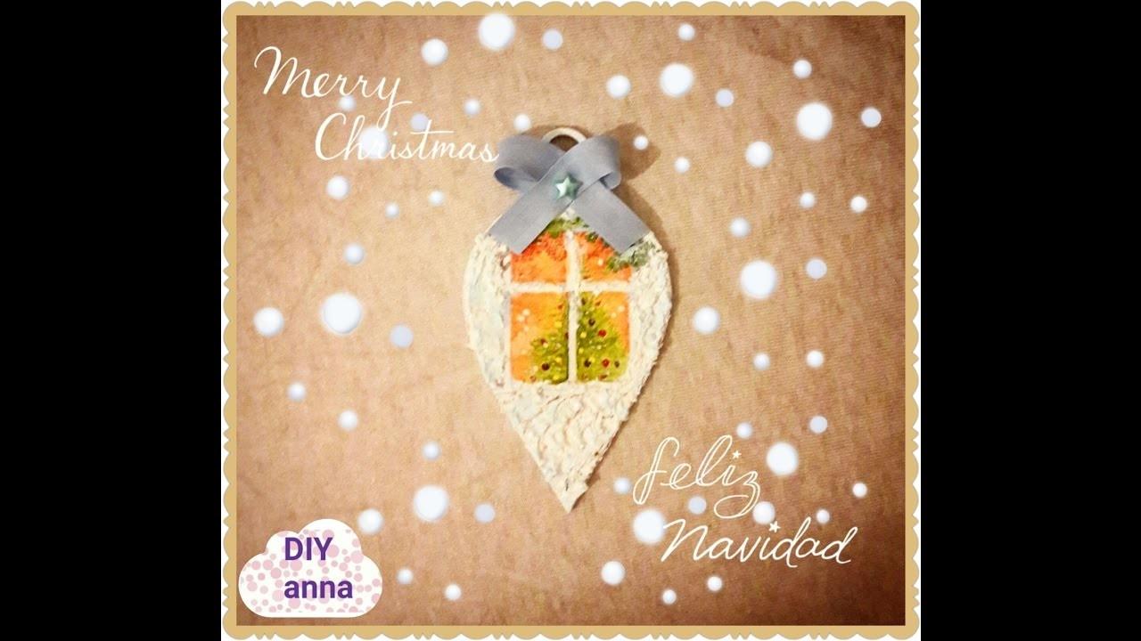 Christmas decoupage wooden ornament DIY ideas decorations craft tutorial. URADI SAM