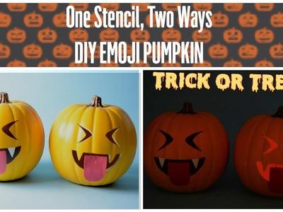 DIY Halloween: Stenciled Vampire Emoji Pumpkin