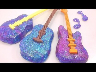 DIY How To Make Galaxy Guitar Slime Freeze Learn Colors Slime Foam Clay | Baa Baa Black Sheep Song
