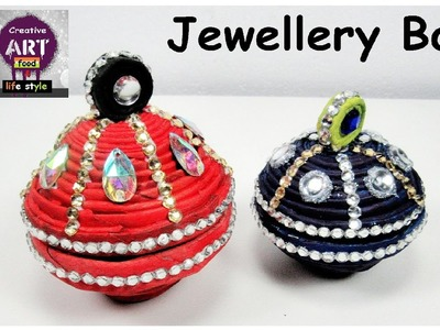 DIY jewellery box   coiled newspaper    best out of waste