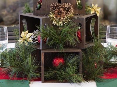 DIY Mini Crate Christmas Tree Centerpiece by Walnut Hollow