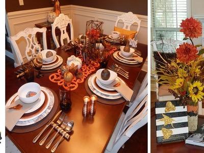 Fall Art DIY Using Leaves &  Rustic Thanksgiving Tablescape w. Dollar Tree