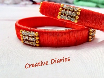 How to make silk thread bangles at home I DIY I Karwa chauth special I Creative Diaries